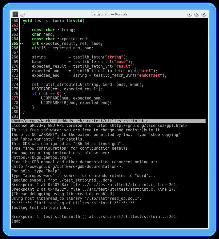 Unit test debugging